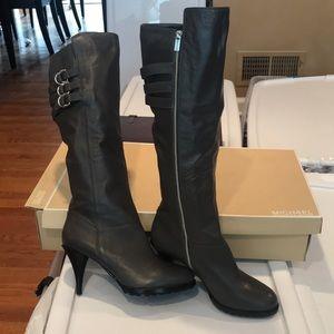 Michael Kors grey leather heeled boots